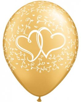 "11"" Gold Entwined Hearts Latex Balloons 25pk"