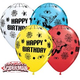"11"" Spider Man Birthday Latex Balloons 25pk"