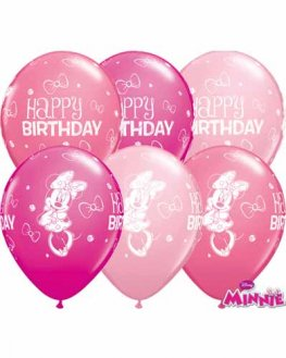 "11"" Minnie Mouse Birthday Latex Balloons 25pk"