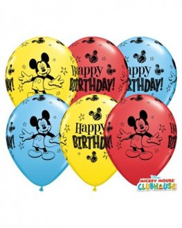 "11"" Mickey Mouse Birthday Latex Balloons 25pk"