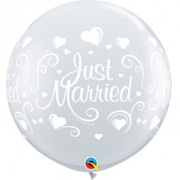 3ft Just Married Hearts Wrap Giant Latex Balloons 2pk