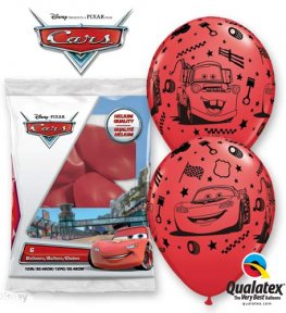"12"" Lightning McQueen And Mater Latex Balloons 6pk"