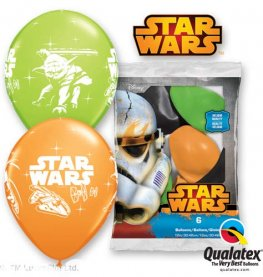 "12"" Darth Vader And Yoda Latex Balloons 6pk"