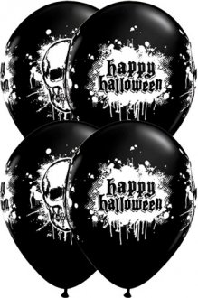"11"" Halloween Haunted Skull Latex Balloon 6pk"