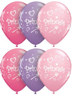 "11"" Princess Assorted Latex Balloons 25pk"