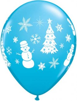 "11"" Robins Egg Blue Festive Winter Scene Latex Balloons 6pk"