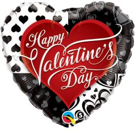 "18"" Valentines Black Hearts Foil Balloons"