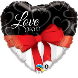 "18"" Love You Red Ribbon Foil Balloons"