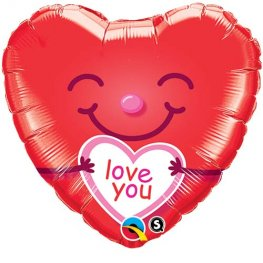 "18"" Love You Smiley Heart Foil Balloons"