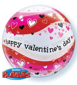 "22"" Valentines Heart Waves Single Bubble Balloons"