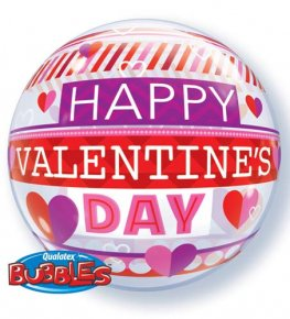 "22"" Valentines Stripe Patterns Single Bubble Balloons"