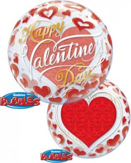 "22"" Valentines Red Hearts Single Bubble Balloons"