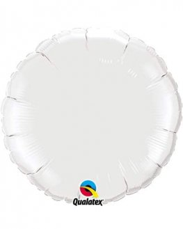 "4"" White Round Foil Balloon"
