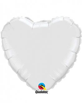 "4"" White Heart Foil Balloon"