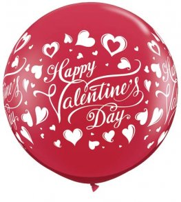 3ft Valentines Classic Hearts Latex Balloons 2pk