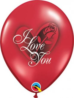 "11"" I Love You Red Rose Latex Balloons 6pk"