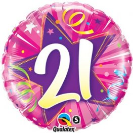 "18"" 21 Shining Star Hot Pink Birthday Foil Balloons"