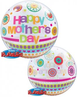 "22"" Mothers Day Dots & Patterns Single Bubble Balloons"