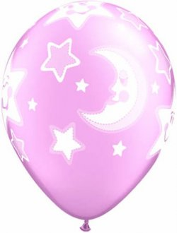 "11"" Baby Moon And Stars Girl Latex Balloons 25pk"
