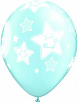 "11"" Baby Moon And Stars Boy Latex Balloons 25pk"
