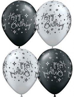 "11"" Birthday Elegant Sparkles And Swirls 25pk"