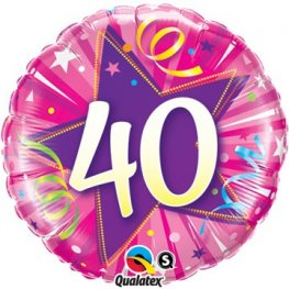"18"" 40 Shining Star Hot Pink Foil Balloons"