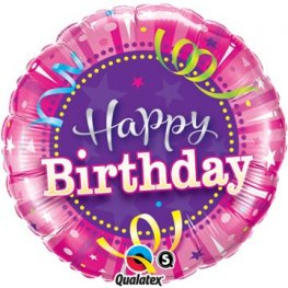 "18"" Birthday Bright Pink Foil Balloons"