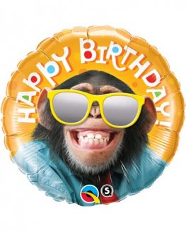 "18"" Happy Birthday Smilin Chimp Foil Balloons"