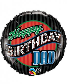 "18"" Happy Birthday Dad Stripes Foil Balloons"