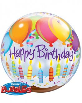 "22"" Birthday Balloons And Candles Single Bubble Balloons"