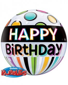 "22"" Birthday Black Band & Dots Single Bubble Balloons"