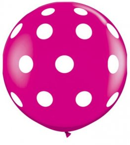 3ft Wild Berry Big Polka Dots Giant Latex Balloons 2pk