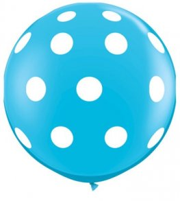 3ft Robins Egg Blue Big Polka Dots Giant Latex Balloons 2pk