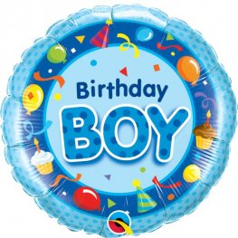 "18"" Birthday Boy Blue Foil Balloons"