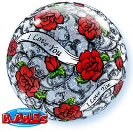 "22"" I Love You Red Rose Filigree Single Bubble Balloons"