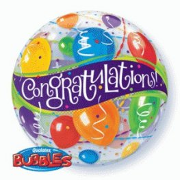 "22"" Congratulations Single Bubble Balloons"