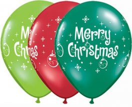 "11"" Merry Christmas Ornaments Latex Balloons 25pk"