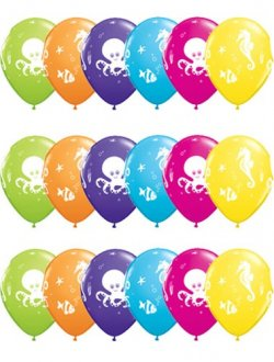 "11"" Fun Sea Creatures Latex Balloons 25pk"