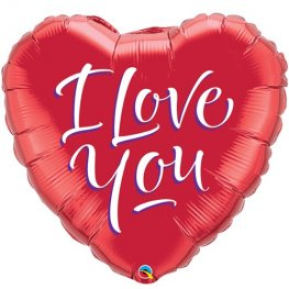 "9"" I Love You Script Modern Air Filled Balloons"