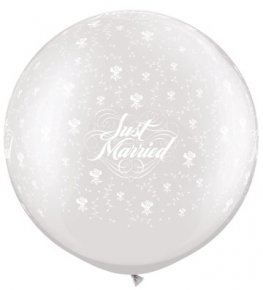 "30"" Pearl White Just Married Flowers Giant Latex Balloons 2pk"