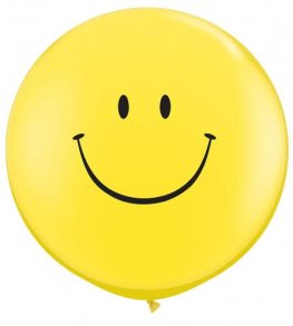 3ft Smiley Face Giant Latex Balloon Neck Down 2pk