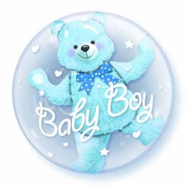 "24"" Baby Blue Bear Double Bubble Balloons"