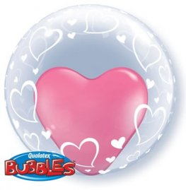 "24"" Stylish Hearts Deco Bubble Balloons"