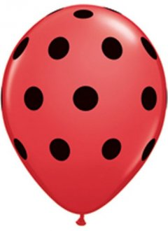 "11"" Red With Black Polka Dots Latex Balloons 25pk"