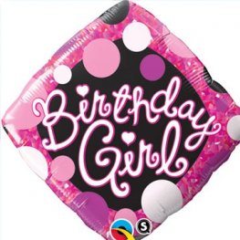 "18"" Birthday Girl Pink And Black Diamond Foil Balloons"