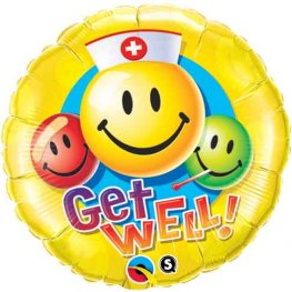 "18"" Get Well Smiley Face Foil Balloons"