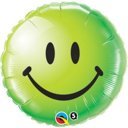 "18"" Smiley Face Green Foil Balloons"