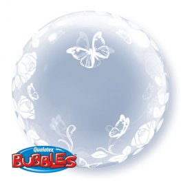 "24"" Elegant Roses And Butterflies Deco Bubble Balloons"