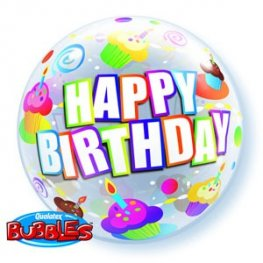 "22"" Birthday Colourful Cupcakes Single Bubble Balloons"