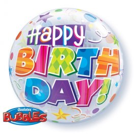 "22"" Birthday Party Patterns Single Bubble Balloons"